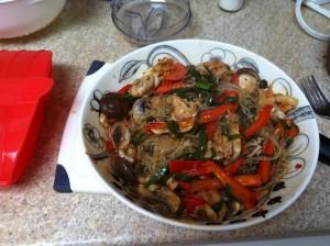 海藻麺でチャプチェもどき