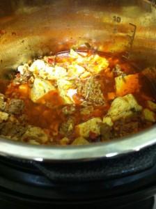 圧力鍋でマーボ豆腐