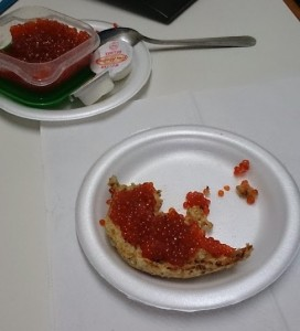 salmon roe on bread