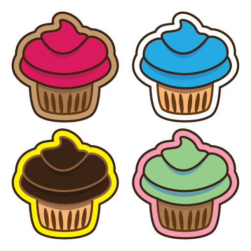 Colorful Cupcakes - vector art