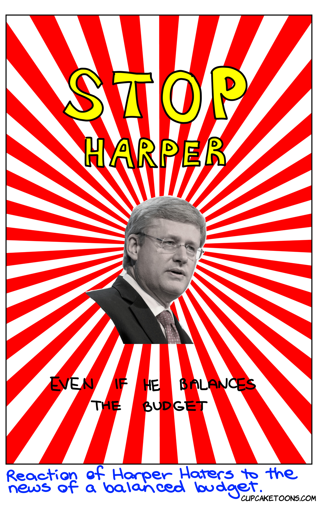Stop Harper poster after balanced budget