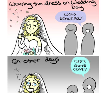 Wedding Dress (Minor Difference) Cartoon