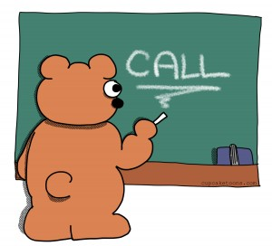 Bear Call Writing Cartoon