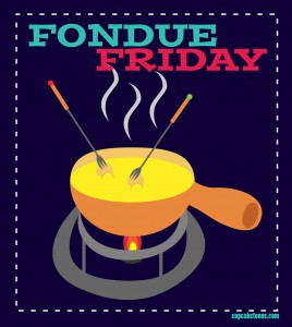Colorful Illustration of Cheese Fondue
