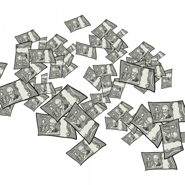 Image of Canadian Money Flying Cartoon