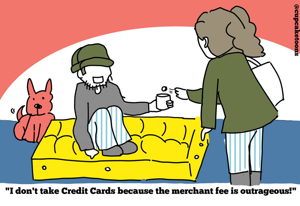 Credit Card Merchant fee Cartoon