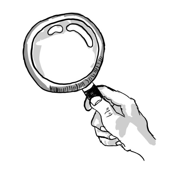 Hand Holding a Magnifying Glass (Hand Drawn Style